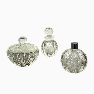 Italian Murano Glass Glass Toiletry Set by Gianni Seguso for Seguso, 1930s, Set of 3