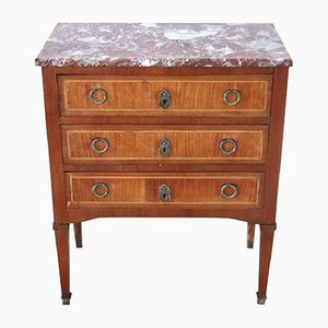 Vintage Inlaid Wood and Red Marble Dresser, 1920s
