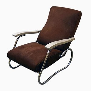 Suede Leather Reclining Lounge Chair from Thonet, 1940s