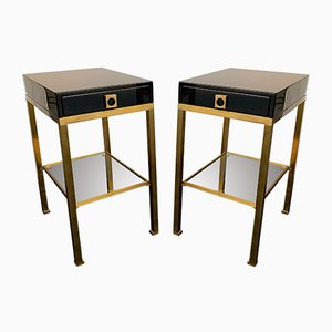 French Lacquered and Brass Side Tables by Guy Lefèvre, 1970s, Set of 2