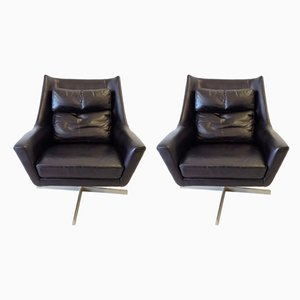 Leather Lounge Chairs from Knoll Antimott, 1960s, Set of 2