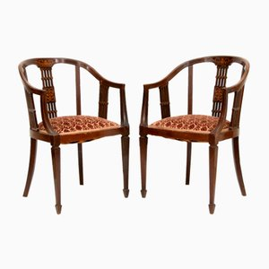 19th Century Mahogany Lounge Chairs, Set of 2