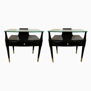 Italian Lacquered and Brass Side Tables by Paolo Buffa, 1950s, Set of 2
