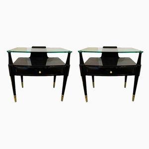 Tables d'Appoint Laquées et Laiton par Paolo Buffa, Italie, années 50, Set de 2