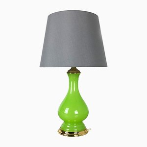 Mid-Century Green and Opaline Murano Glass Table Lamp from Cenedese Vetri