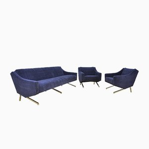 German Blue Sofa Bed and Armchairs, 1969, Set of 3