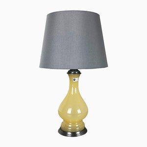 Gelbbraune Mid-Century Tischlampe aus Opalglas von Cenedese Vetri