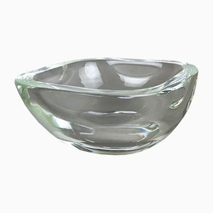 Mid-Century Italian Heavy Clear Murano Glass Shell Bowl from Cenedese Vetri