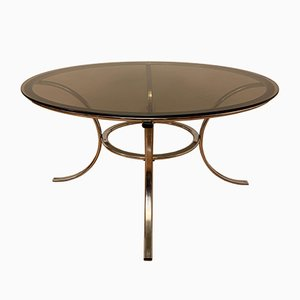 French Chromed Metal and Smoked Glass Coffee Table, 1970s