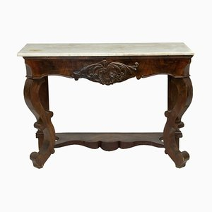 19th Century Louis Philippe Style Mahogany and Marble Console Table