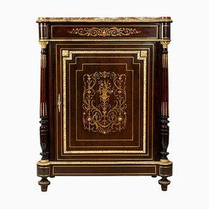 Comò Napoleone III antico in legno, bronzo e ottone