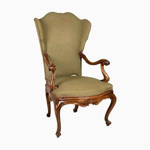 Italienischer Sessel mit Gestell aus Nussholz, 19. Jh.
