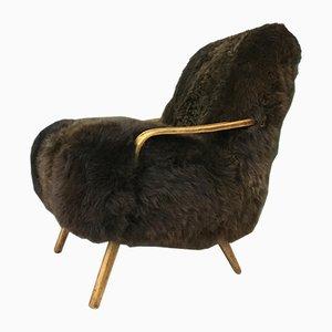 Poltrona Art Deco vintage in pelle di pecora marrone