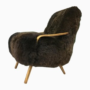 Vintage Art Deco Brown Sheepskin Armchair