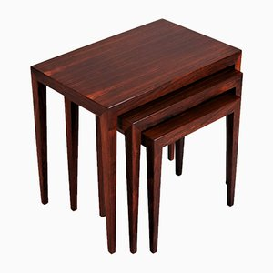 Mid-Century Danish Rosewood Nesting Tables by Severin Hansen for Haslev Møbelsnedkeri, Set of 3