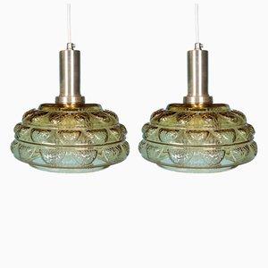 Danish Glass Pendant Lamps, 1960s, Set of 2