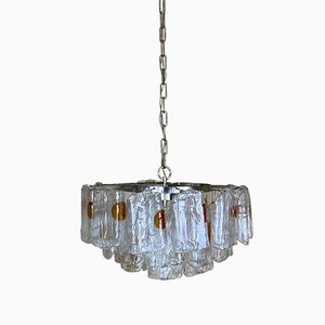 Mid-Century Space Age Murano Glass and Chrome Chandelier