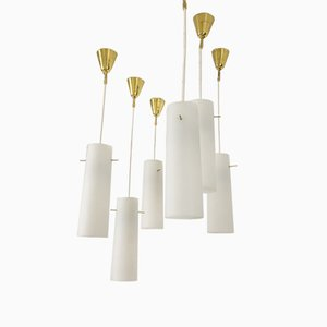 Glass Pendant Lamps, 1950s, Set of 6