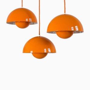 Lampes à Suspension Flowerpot par Verner Panton pour Louis Poulsen, années 60, Set de 3