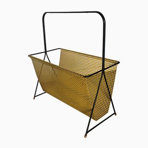 Vintage Dutch Yellow and Black Perforated Steel Magazine Rack by Mathieu Matégot, 1950s
