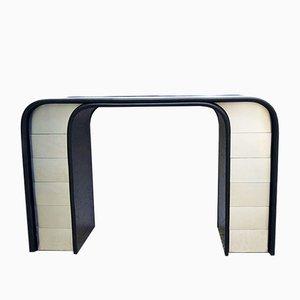 Mesa consola de madera curvada y aluminio, años 80