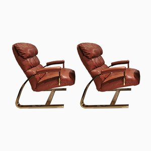 Leather Armchairs, 1948, Set of 2