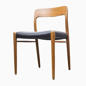 Teak and Leather Model 75 Dining Chair by Niels Otto Møller for J.L. Møllers, 1960s