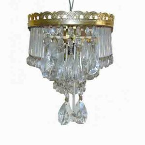 Vintage Brass, Glass, and Crystal Sconce, 1970s
