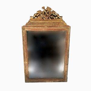 Antiker französischer Spiegel mit Silberglas & vergoldetem Holzrahmen