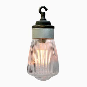 Mid-Century Industrial Porcelain, Cast Iron, and Glass Ceiling Lamp, 1950s