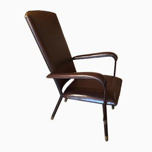 Mid-Century French Saddle-Stitched Leather Armchair by Jacques Adnet