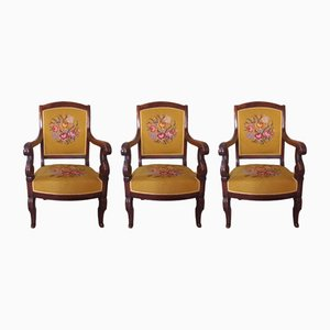 Antique French Armchairs, Set of 3