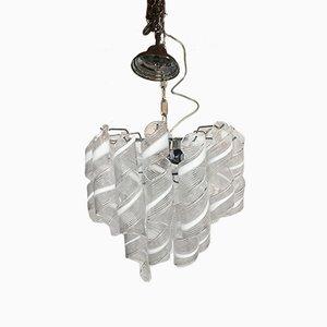 Sputnik Kronleuchter mit verchromtem Metallrahmen & Behang aus weißem & klarem Muranoglas von Italian Light Design