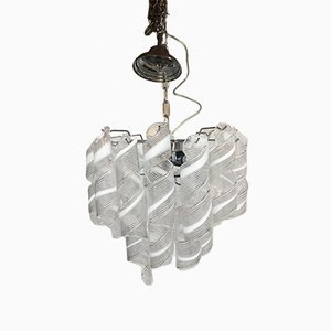 White and Transparent Murano Glass & Chrome Metal Sputnik Chandelier from Italian Light Design