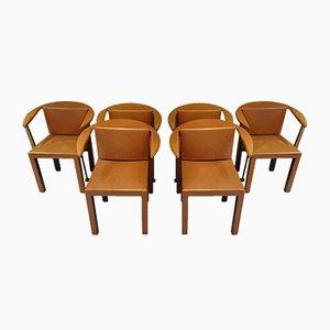 Beistellstühle aus Leder von Paolo Piva für B & B Italia / C & B Italia, 1980er, 6er Set