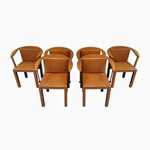 Leather Side Chairs by Paolo Piva for B&B Italia / C&B Italia, 1980s, Set of 6
