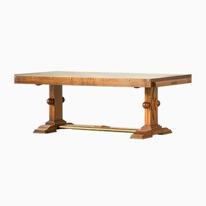 Vintage French Brutalist Oak Dining Table by Gaston Poisson