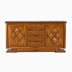 Vintage French Brutalist Oak Sideboard