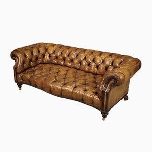 Tan Leather Chesterfield Sofa, 1920s