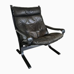 Vintage Scandinavian Leather Lounge Chair by Ingmar Relling for Westnofa, 1960s