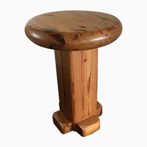 Taburete vintage de madera maciza, años 60