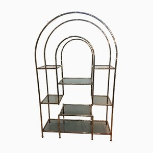 Vintage Bamboo Chromed Metal Shelf