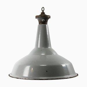Mid-Century Industrial British Gray Enamel Pendant Lamp