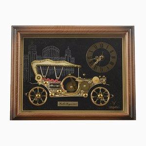 Uhr mit Auto im antiken Stil von Rolls Royce, 1980er