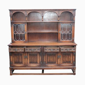 Large Oak and Leaded Glass Dresser, 1940s
