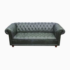 Green Leather Buttoned Chesterfield Sofa, 1960s