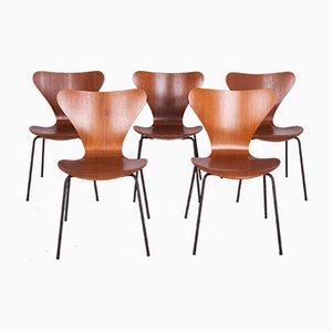 Sedia da pranzo nr. 3197 in acciaio e teak di Arne Jacobsen per Fritz Hansen, Danimarca, anni '60