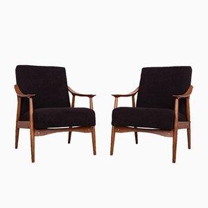 Schwarze tschechische Armlehnstühle, 1960er, 2er Set