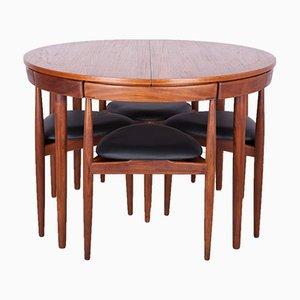 Juego de mesa de comedor y sillas Mid-Century de teca de Hans Olsen para Frem Røjle, años 50
