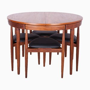 Tavolo da pranzo Mid-Century in teak con sedie di Hans Olsen per Frem Røjle, anni '50